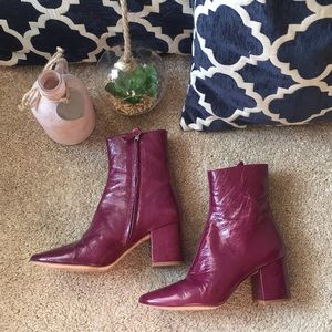 Zara 6.5 plum leather boots booties. SEE NOTE